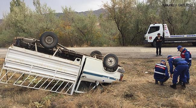 Demirşeyh yolunda kamyonet takla attı
