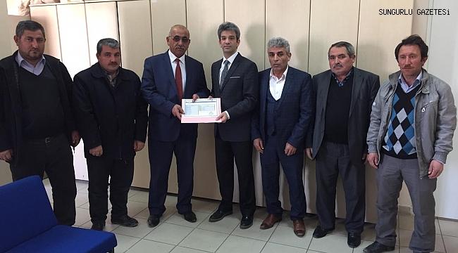 Boğazkale Ziraat Odası Başkanı Meteoğlu, mazbatasını aldı